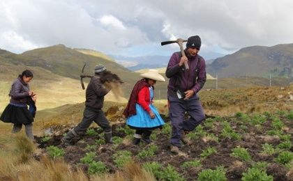 Maxima Acuña de Chaupe and her family in the Peruvian highlands.