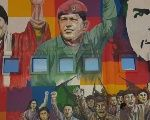 A mural in Cochabamba, Bolivia, expressing solidarity with Venezuela's Bolivarian Revolution.