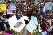 Hondurans gather at the funeral of Indigenous enviornmental activist Berta Caceres.