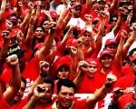 Venezuelan workers protest in solidarity with President Nicolas Maduro and the Bolivarian Revolution.