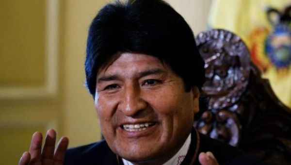 Evo Morales speaks at a press conference.