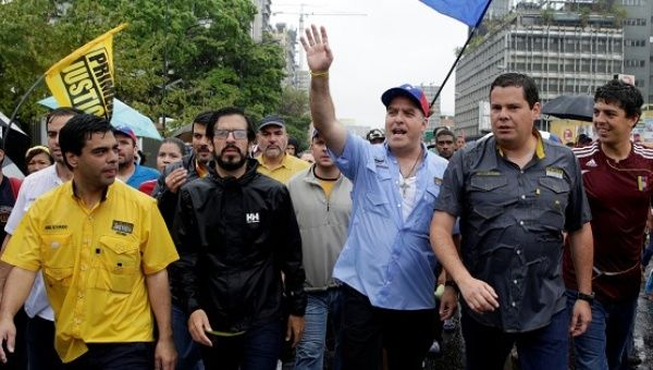 Julio Borges, president of the National Assembly, participates in a rally against Venezuela