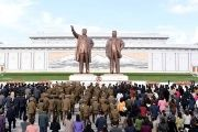 People mark the 85th founding anniversary of the Korean People's Army on April 25, 2017.