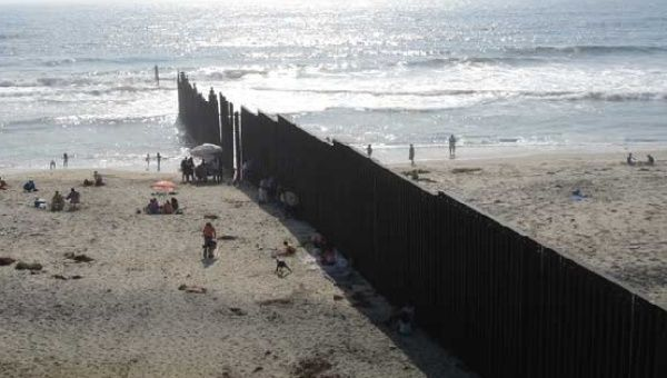 The beach on the Pacific Ocean at the U.S.-Mexico border from the Mexican side
