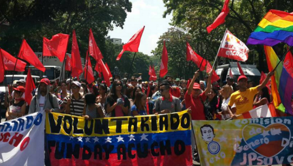 Venezuelan youth march in support of President Nicolas Maduro and the socialist government in Caracas, April 26, 2017.