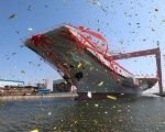 China's second aircraft carrier, first domestically built aircraft carrier, is seen during its launching ceremony in Dalian, China, on April 26, 2017.