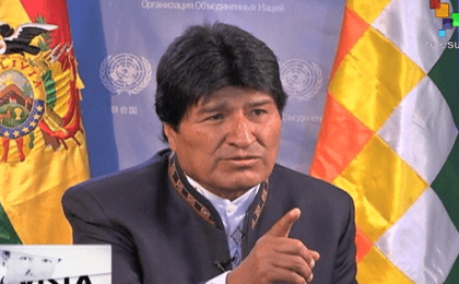 Evo Morales in an interview with teleSUR from New York.