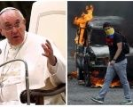 Pope Francis (L) and a Venezuelan opposition protester (R).