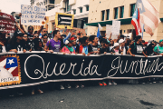 Puerto Ricans march in San Juan on May Day.