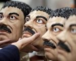 El Chapo masks on display at Grupo Rev in the Mexican city of Cuernavaca near Mexico City, Oct. 14, 2015.