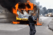 The suspects ordered all the people off the bus and truck before torching them; no one was injured.