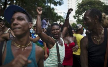 People dance during the Eighth Annual March against Homophobia and Transphobia in Havana