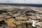 An area deforested by illegal gold mining is seen in a zone known as Mega 14, in the southern Amazon region of Madre de Dios.
