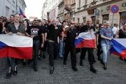Far-right Czech activists shout as they march in protest against the Roma minority in Plzen.