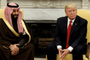 U.S. President Donald Trump meets with Saudi Deputy Crown Prince and Minister of Defense Mohammed bin Salman in the Oval Office of the White House in Washington, U.S., March 14, 2017.
