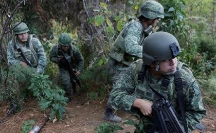 Soldiers stand guard as they destroy poppies during a military operation in the municipality of Coyuca de Catalan, Mexico, on April 18, 2017.