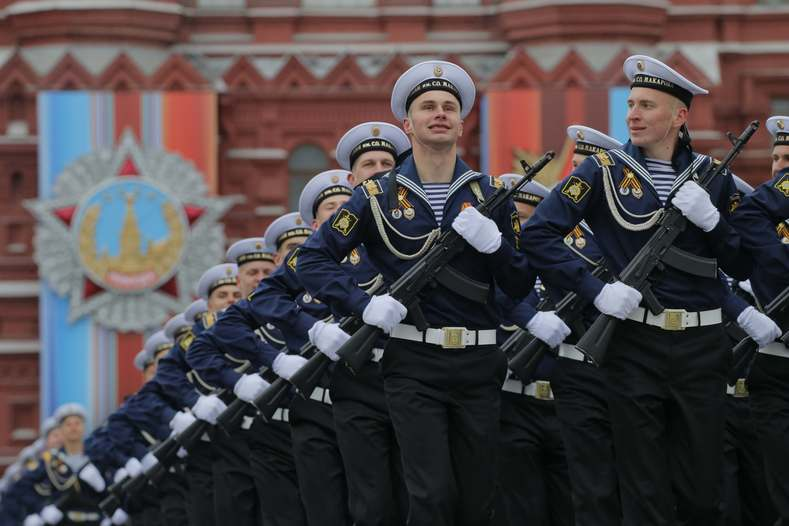 Russian Navy cadets march during the Victory Day military parade marking the World War II anniversary, at Red Square in Moscow.
