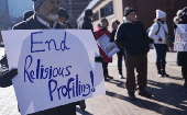 Muslims protest religious profiling in the United States.