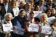 Members of human rights organizations outside Congress in Buenos Aires to celebrate a sanction against the so-called