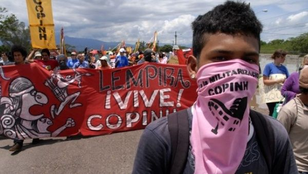 COPINH participating in a march against a U.S. military base in Palmerola, Honduras, 2011.