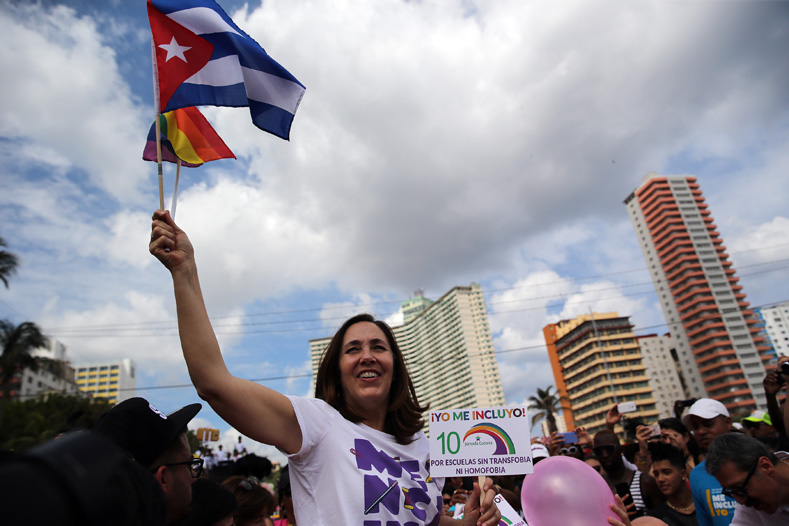 Mariela Castro Espín, director of Cenesex, participates in the the Cuban march against homophobia and transphobia.