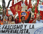 The Communist Party of Venezuela marches in defense of the Bolivarian Revolution.
