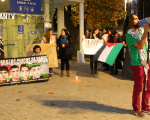 Students, representatives of various organizations gathered in several plazas in Santiago to support the Palestine prisoners.