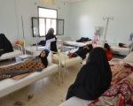 Women sit with relatives infected with cholera at a hospital in the Red Sea port city of Hodeidah, Yemen May 14, 2017.