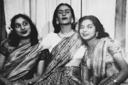 Renowned Mexican artist Frida Kahlo wearing a sari, an Indian drape, along with sisters a young Nayantara Sahgal (R) and Nayantara's younger sister, Rita Dar.