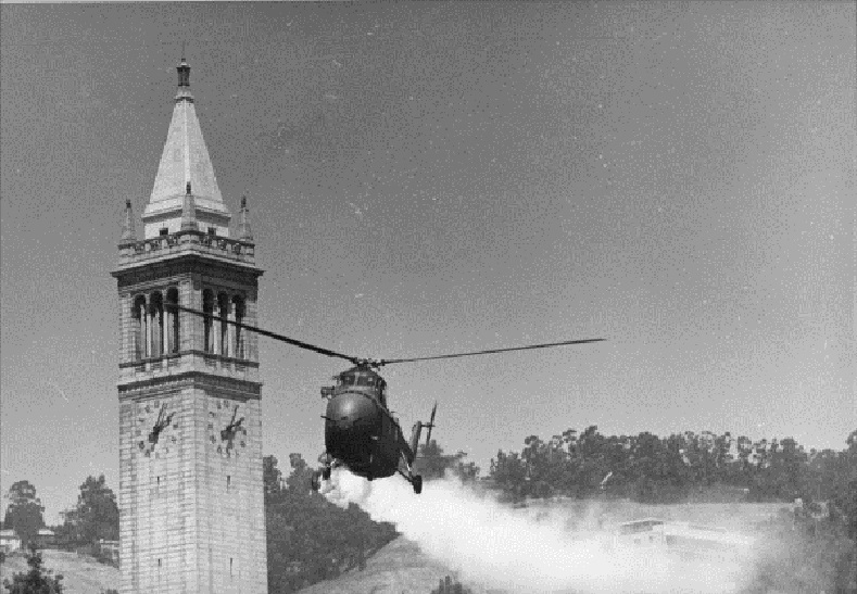 Helicopter sprays tear gas on demonstrators at the University of California, Berkeley campus.