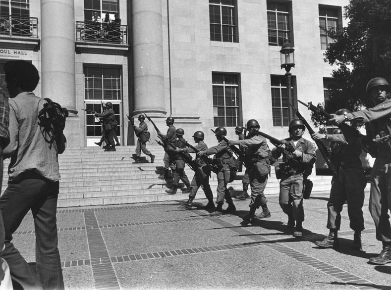 National guard troops on the University of California, Berkeley campus.