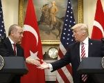 The Turkish President Recep Tayyip Erdogan meeting his U.S. counterpart Donald Trump in Washington DC, May 16, 2017