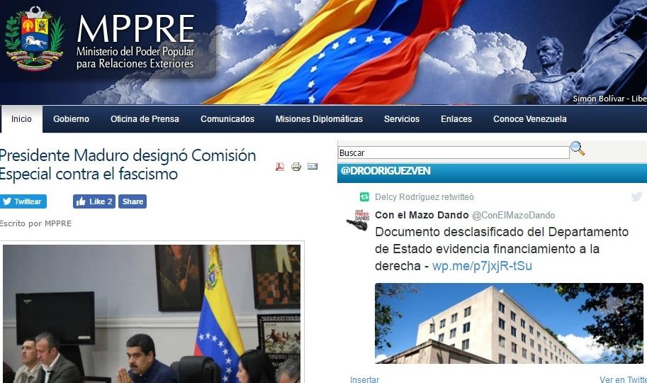 Venezuela inicia campaña internacional para denunciar violencia fascista