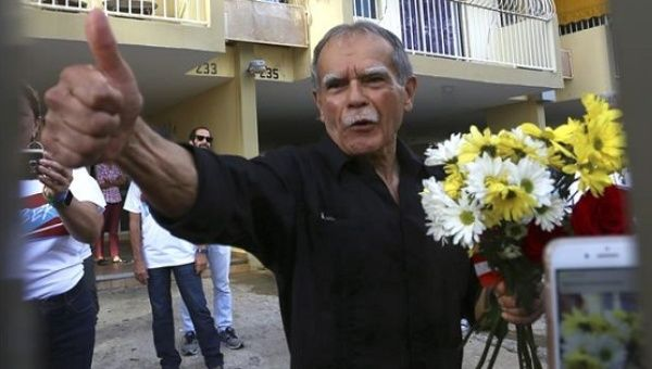Oscar Lopez Rivera walks free after 36 years in prison.