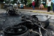 Burnt police motorcycles are seen during a protest against Venezuela's President Nicolas Maduro's government in Palmira, Venezuela, May 16, 2017.