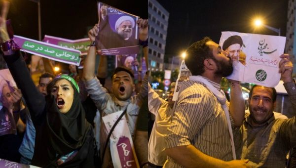 The elections will pit incumbent President Hassan Rouhani (supporters at left) against conservative candidate Seyed Ebrahim Raisi (supporters at right).