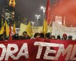 Lead banner calls for Temer's ouster.