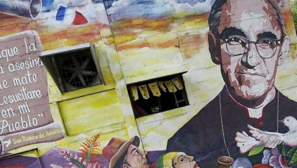 A mural depicts slain Archbishop Oscar Romero in San Salvador.