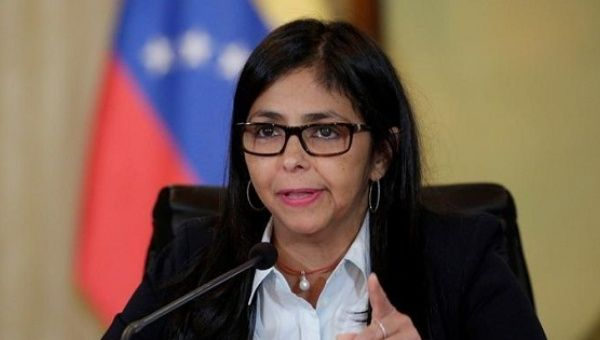 Venezuelan Foreign Minister Delcy Rodriguez spoke at a Caricom meeting, denouncing recent U.S. sanctions.