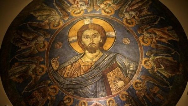 A painted part of an Orthodox Church dome depicting Christ, which was recovered by Cyprus after being stolen in the aftermath of Turkey