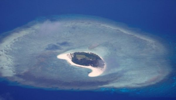 An aerial view of uninhabited island of Spratlys in the disputed South China Sea, on April 21, 2017.
