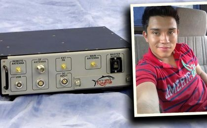 Rudy Carcamo-Carranza pictured with Stingray device (teleSUR photo illustration)