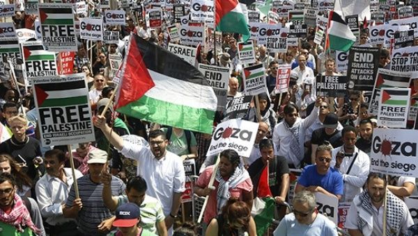 Demonstrators protest outside the Israeil Embassy in west London July 26, 2014.