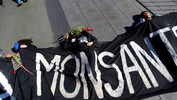 Demonstrators pretending to be dead lie on the ground during a protest against Monsanto in Santiago, Chile, May 20, 2017.