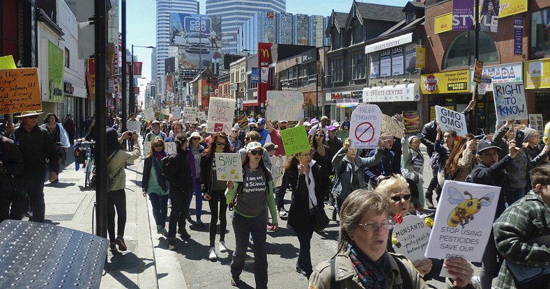 The Toronto demonstration marched through the major downtown intersection of Yonge & Dundas before ending at Toronto