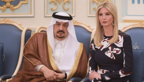 Ivanka Trump at a ceremony where her father, U.S. President Donald Trump, received the Order of Abdulaziz al-Saud medal.