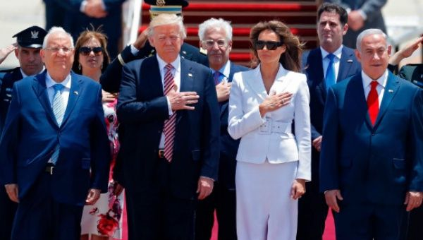 Trump was greeted by Israeli Prime Minister Benjamin Netanyahu and President Reuven Rivlin.