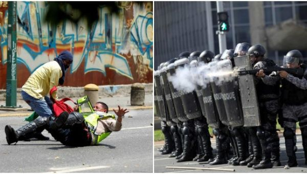 (Left) Anti-government protesters attack police in Venezuela. (Right) Police fire rubber bullets and tear gas at anti-Temer protesters in Brasilia.