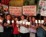 Philippine mass movement participants protest the declaration of martial law in Mindanao.