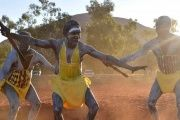 Performers from East Arnhem Land dance during the opening ceremony for the National Indigenous Constitutional Convention, a three day conference designed to come up with a consensus response on how indigenous people should be recognized in Australia's constitution, at Mutitjulu near Uluru in central Australia, May 23, 2017.
